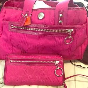 Coach hot pink bag with wallet